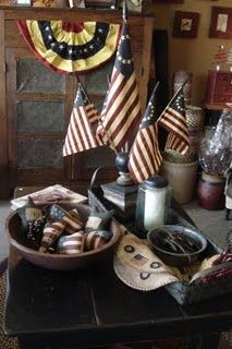 primitive vignette of the red, white, and blue