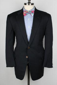 HICKEY FREEMAN Navy Cashmere Blend Brass Btns 44 R mens Sport Coat Blazer #HickeyFreeman #TwoButton
