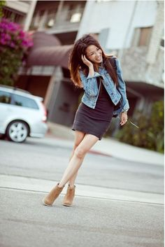 Brown ankle boots & Denim Jeans, Wendy Look Book