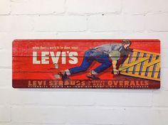Jahrgang Syle Levis Workwear Crate Wand Zeichen