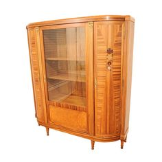 Rosewood Art Deco Display Cabinet with Intricate Inlay