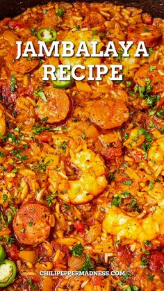 This jambalaya recipe is the best Cajun comfort food and so easy to make, with loads of shrimp, smoked andouille sausage, chicken, and plenty of spices. If you like your jambalaya extra meaty, with plenty of chunky chicken, seasoned and seared shrimp, and spicy andouille sausage, then this recipe is going to make you happy. Are you a jambalaya fan? I love it so much. If you've never enjoyed jambalaya before, this is a great recipe to try! Cajun Cooking, Cooking Recipes, Healthy Recipes, Creole Cooking, Cajun Food, Kitchen Recipes, Seafood Recipes, Mexican Food Recipes, Haitian Recipes