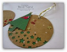 Be Creative with Nicole: Festival of Trees Gift Tags Tag ideas for Christmas using the Festival of Trees Bundle and the Confetti Star Punch.