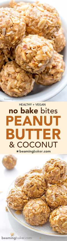 No Bake Peanut Butter Coconut Bites: delicious, easy to make, energy-boosting and super-filling. Made of just 6 simple ingredients, vegan, gluten free and healthy.  ☀️︎ http://BEAMINGBAKER.COM #vegan #glutenfree