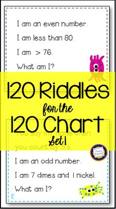 Spiraled review in first grade and second grade is a snap with this set of 120 math riddle cards for the numbers one through 120! They're a great way to practice the concepts and vocabulary of odd/even, place value, adding and subtracting tens, coins (pennies, nickels, dimes), and comparison signs for equalities and inequalities. https://www.teacherspayteachers.com/Product/First-Second-Grade-Math-120-Riddle-Cards-for-the-120-Chart-Set-1-191803