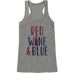 5724f6f8c6e0cf Red Wine and Blue Tank Top - Women s of July Tank - Grey Tank - Funny  Drinking Wine of July Shirt - American Pride Top - Wine Bottle