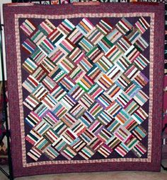 "Use 2.5"" strips.  From Bonnie K. Hunter's blog,  Quiltville's Quips & Snips!!: Basket Weave Strings!"
