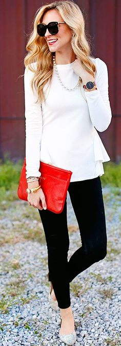 Pop Of Red On Black And White Fall Inspo by A pInch Of Lovely