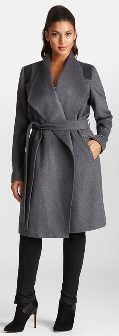 Mynt 1792 Wool Blend Wrap Coat (Plus Size)