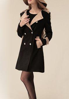 Black Patchwork Round Neck Long Sleeve Wool Coat