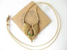 SYLPH Micromacrame Unakite Stone Necklace  Hippie Chic by raiz, $48.00