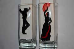 """6 verres à eau, jus de fruits, whisky peints """"Flamenco"""" en rouge et noir, SUR COMMANDE, peinture sur verre Opale Isis, sur Etsy de la boutique OpaleIsis sur Etsy"""