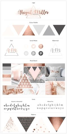 Rose Gold Brand Board and Feminine Brand Board. Come and buy this stunning Canva Template to create the online business brand of your dreams! These Canva Templates are fully editable and brand-able in minutes! Logo Design, Identity Design, Brand Design, Brand Identity, Design Design, Brochure Design, Visual Identity, Cover Design, Design Trends