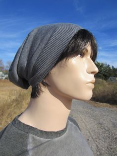211be352237 Merino Wool Mens Knit Hat Gray Slouchy Beanie Hat by Vacationhouse Grey  Beanie