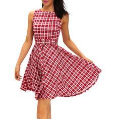 Vintage Round Neck Belted Tartan Dress - RED L