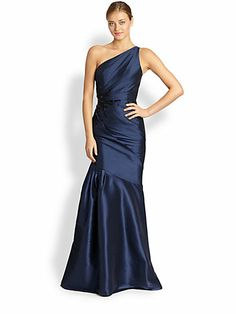 ML Monique Lhuillier - Faille One-Shoulder Mermaid Gown - Saks.com