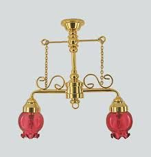 Dollhouse Miniature Ornate Pink Victorian Hanging Lights by Houseworks for sale online Wall Fixtures, Ceiling Light Fixtures, Ceiling Lights, Dollhouse Accessories, Red Glass, Dollhouse Furniture, Hanging Lights, Glass Shades, Dollhouse Miniatures