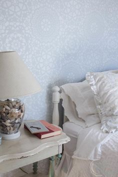 Beautiful Shabby Chic Guest Room with Benjamin Moore Glass Slipper and Parlor Lace Stencil in Simply White. #sponsored