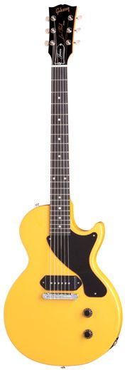 Gibson Les Paul Junior in what some call TV Yellow. Launched in 1954 it doesn't get and simpler than this: a wrap around, one piece bridge, a single P90 pickup and a utilitarian, slab body.