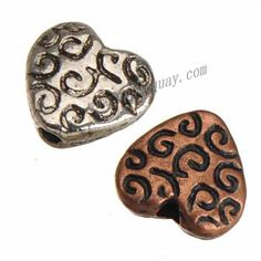 Zinc Alloy Flat Beads,Heart Love,Plated,Cadmium And Lead Free,Various Color For Choice,Approx 8.5*9.5*3.5mm,Hole:Approx 1.5mm,No 10759