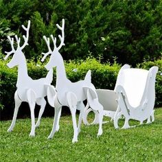 teak isle large christmas outdoor santa sleigh and 2 reindeer set large santa sleigh and 2 reindeer set updated 2013 version sleigh tall x long x wide - Outside Reindeer Christmas Decorations