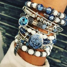 Alex & Ani Stacked Bracelets In Different Shades Of Blue & White Beads, Charms & Stones