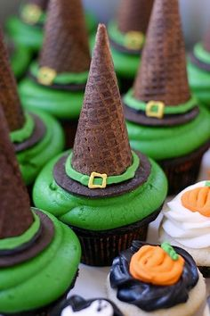 Witch Hat Cupcakes!!Use an ice cream cone for the top of the hat and one half of an oreo cookie for the bottom!! Easy addition to your grocery store cupcakes!!