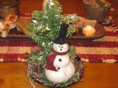 Snowman Decoration - Winter Decoration - Shelf Sitter by LoveAndStitchesToYou on Etsy