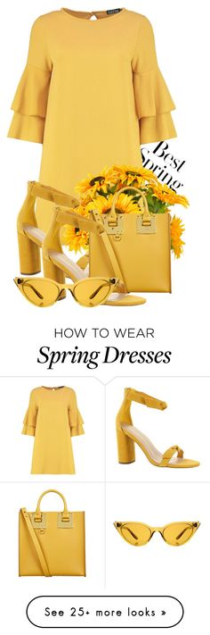 """Hello, Yellow."" by rinapinxz on Polyvore featuring H&M, Boohoo, Creative Displays, BCBGeneration, Sophie Hulme, Illesteva, Spring, yellow, springdresses and spring2018"
