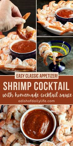 Easy shrimp cocktail recipe with a delicious homemade cocktail sauce, plus my favorite tip for cooking tender, flavorful shrimp! Perfect for holidays and special occasions! Serving ideas for individual servings and parties included. #shrimp #appetizer #seafood Homemade Cocktail Sauce, Shrimp Cocktail Sauce, Cocktail Recipes, Cocktails, Appetizer Dishes, Yummy Appetizers, Appetizer Recipes, Snack Recipes, Yummy Recipes