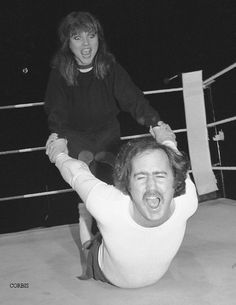"Deborah Harry and ""Inter-Gender Wrestling Champion of the World"" Andy Kaufman, 1983."