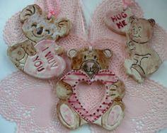 Hecho a mano cerámica adornos de San Valentín - tres ositos