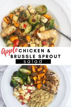 A delicious apple chicken salad packed full of veggies and nutrients! Healthy Chicken Recipes, Lunch Recipes, Great Recipes, Dinner Recipes, Chicken Quinoa Salad, Chicken Salad With Apples, Chicken Brussel Sprouts, Brussel Sprout Salad, Apple Chicken