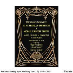 Art Deco Gatsby Style Wedding Invitation - 1920's