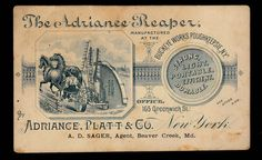 Adriance Platt & Co. Trade Card. Poughkeepsie NY.