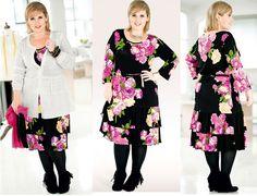 rochie marime mare cu imprimeu floral Maite Kelly, Plus Size Dresses, All The Colors, Dress Skirt, Kimono Top, Bell Sleeve Top, Collection, Elegant, Floral