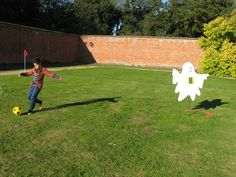 Playing Halloween 'Phantom Football' in the Walled Gardens at Holkham Hall. www.holkham.co.uk