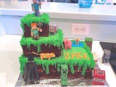 Easiest Minecraft Cake Ever Minecraft Birthday Cake, Easy Minecraft Cake, Minecraft Crafts, Minecraft Party, Cool Birthday Cakes, 7th Birthday, Minecraft Houses, Minecraft Skins, Birthday Stuff