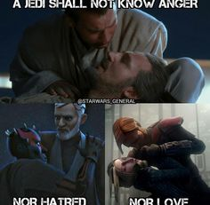 It's sad cause he's the most by-the-book Jedi besides Luminara and he breaks everything in the code. Obi wan is an amazing jedi Star Wars Rebels, Star Wars Clone Wars, Star Wars Art, Star Wars Quotes, Star Wars Humor, Prequel Memes, Love Stars, Star Wars Characters, Obi Wan