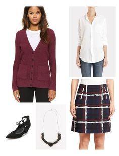 Cardigan and windowpane skirt   Keatonrow.com