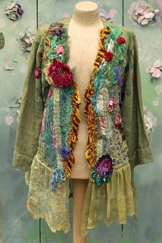 RESERVED- balance payment Last summer days jacket -L- XL big colorful bohemian romantic jacket, embroidered and beaded details,old laces