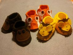 Monkey, Fish and Lion baby booties. So cute!