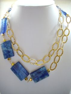 Large Blue Swirl Square Glass Bead and Gold by DesignsbyPattiLynn, $60.00
