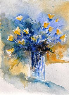 Watercolor Vase of Flowers by Pol Ledent