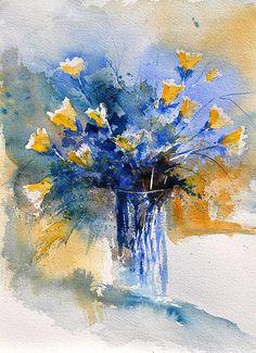 Watercolor Vase of Flowers by Pol Ledent