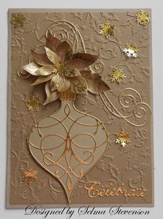 Brown Paper Bag Poinsettia Card...using a brown paper bag and metallic stain. This is fabulous! By Selma.