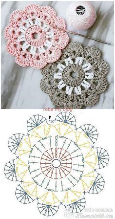 New Photo Crochet flowers mandala Thoughts (notitle) – Häkeln ideen – Crochet Coaster Pattern, Crochet Square Patterns, Crochet Flower Patterns, Crochet Diagram, Crochet Chart, Crochet Squares, Crochet Designs, Knitting Patterns, Granny Squares