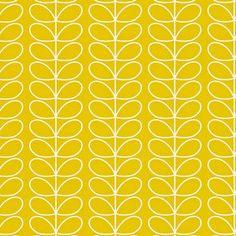 Het Harlequin behang Linear Stem behang van Orla Kiely bestaat uit een fijn retro bladmotief en is beschikbaar in verschillende kleuren, zoals hier in het geel met wit. Harlequin's Orla Kiely Linear S