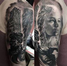 Daenerys Targaryen tattoo & Tower of Joy tattoo. black and white