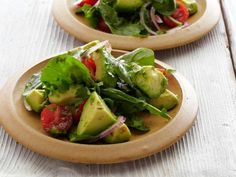 Avocado Salad with Tomatoes, Lime, and Toasted Cumin Vinaigrette Recipe : Bobby Flay : Food Network - Pair this flavorful salad with your favorite Mexican dishes, or enjoy it on its own as a light lunch. Food Network Recipes, Cooking Recipes, Healthy Recipes, Cooking Food, Healthy Meals, Tostadas, Lime Vinaigrette, Side Dish Recipes, Dinner Recipes
